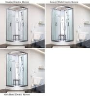 Vidalux Pure-E 900mm x 900mm Quadrant Shower Pod Cubicle Cabin With Electric Shower